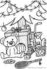 Malvorlage  Geschenke unter dem Weihnachtsbaum