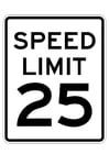 Malvorlage  Geschwindigkeitsbegrenzung
