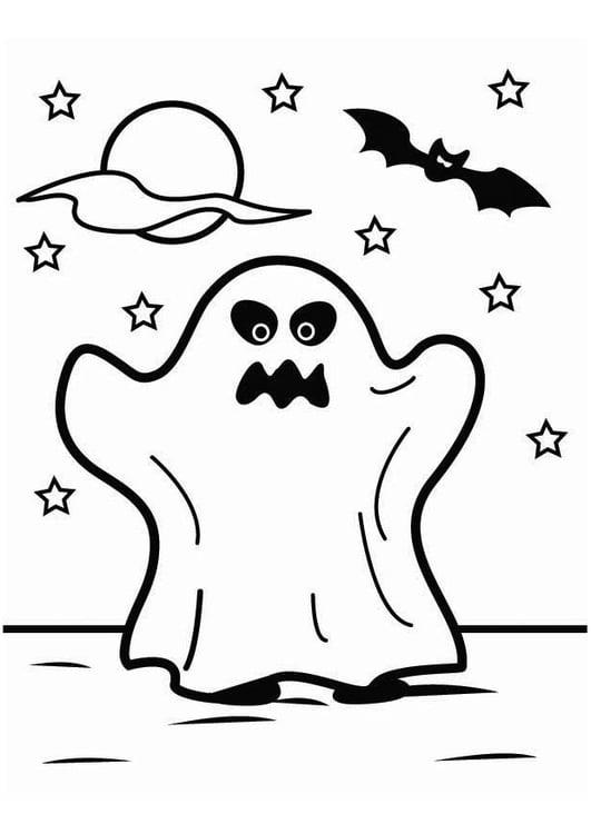 Malvorlage Gespenst Halloween | Ausmalbild 26451.