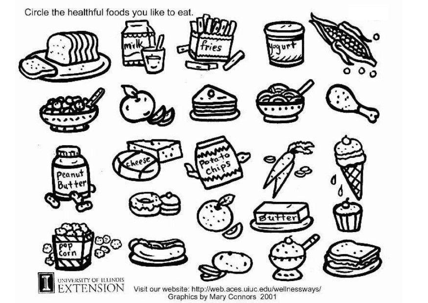 Malvorlage gesunde Nahrung Arbeitsblatt | Ausmalbild 5772.