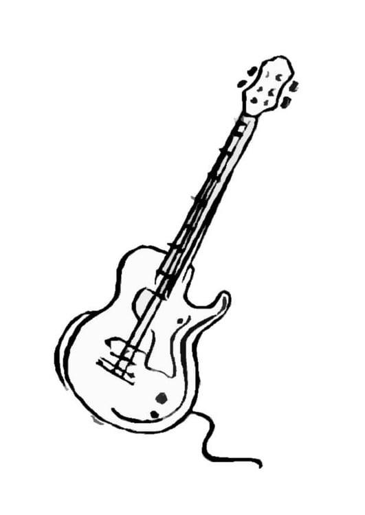 Malvorlage Gitarre   Ausmalbild 8705.