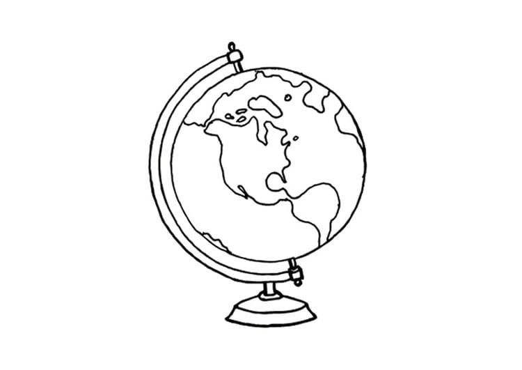 Malvorlage Globus | Ausmalbild 15640.