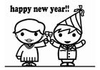 Malvorlage  Glückliches Neues Jahr