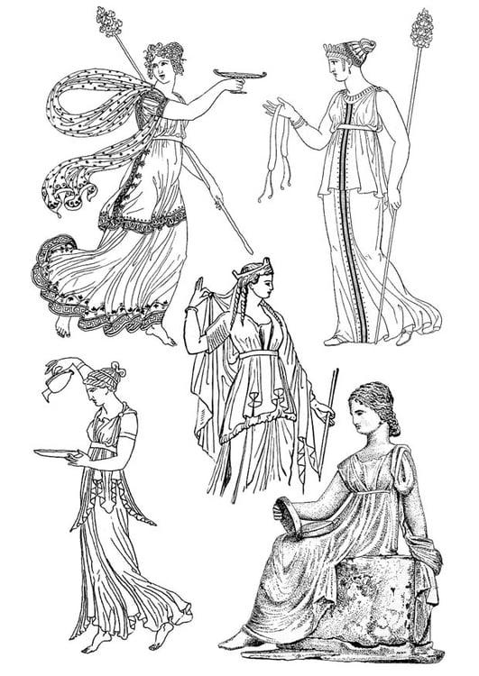 Malvorlage griechische Frau | Ausmalbild 18670.