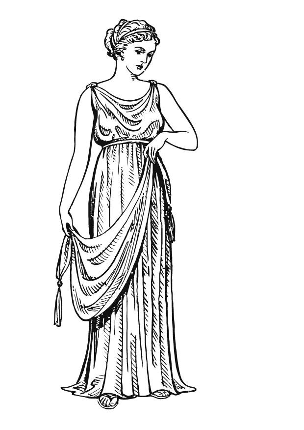 Malvorlage griechische Frau mit Chiton | Ausmalbild 13309.