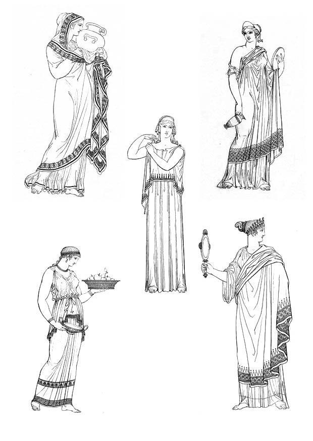 Malvorlage Griechische Frauen | Ausmalbild 9432.