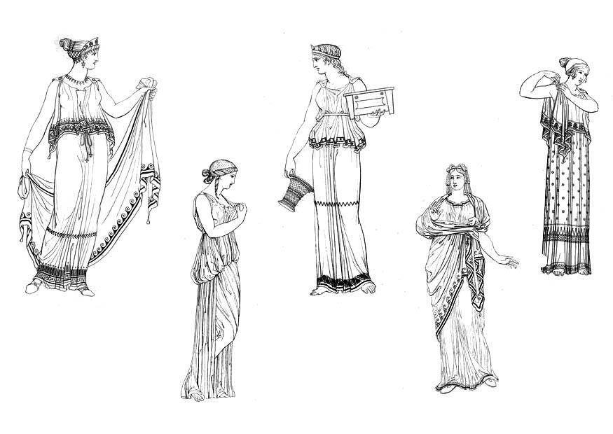 Malvorlage Griechische Frauen | Ausmalbild 9434.