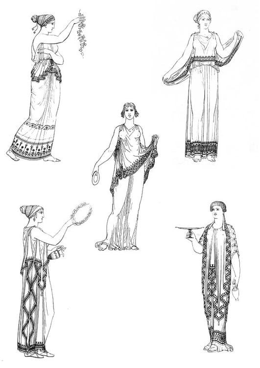 Malvorlage Griechische Frauen | Ausmalbild 9431.