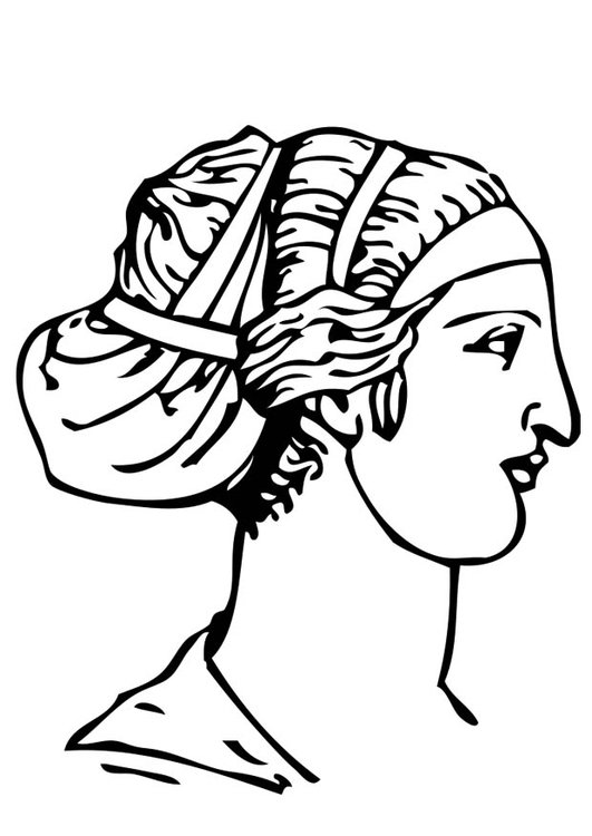 Malvorlage griechische Frisur | Ausmalbild 17320.