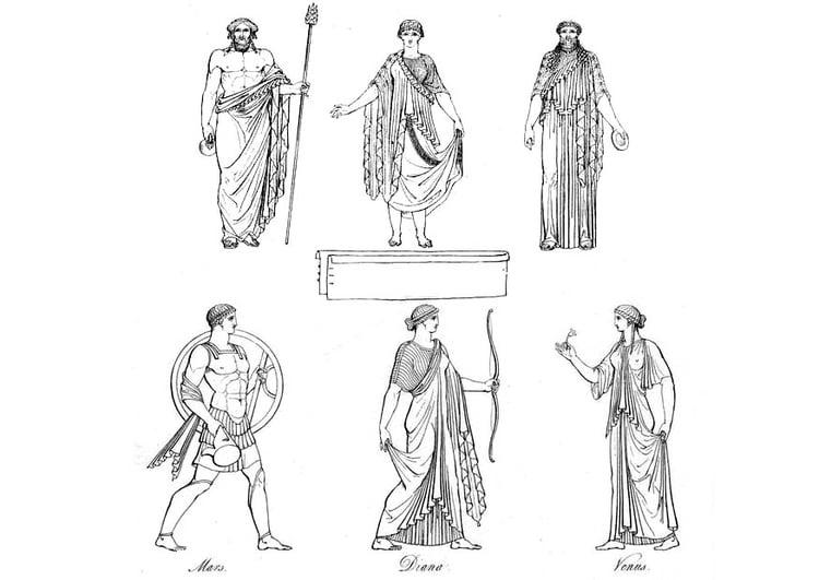Malvorlage Griechische Priester und Götter | Ausmalbild 9429.