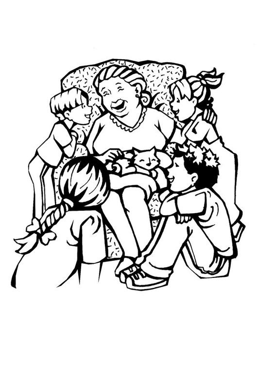 Malvorlage Grossmutter - Muttertag | Ausmalbild 7105.