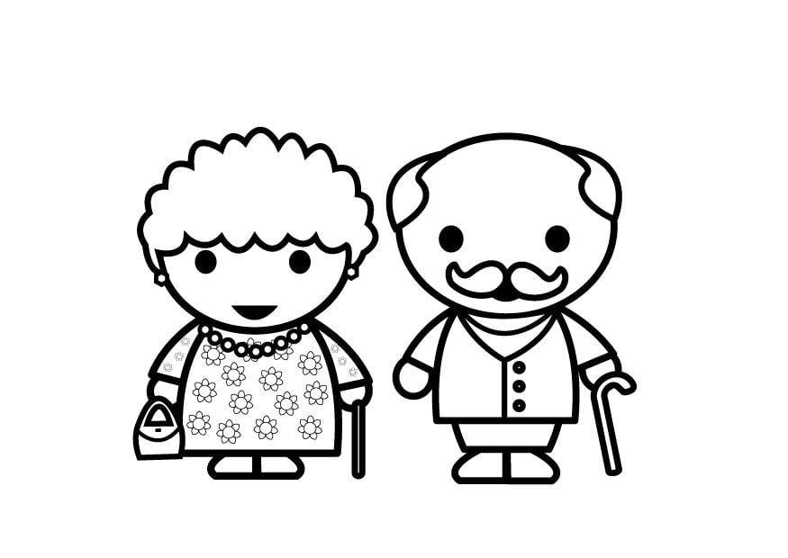 Malvorlage Großmutter und Großvater | Ausmalbild 26881.