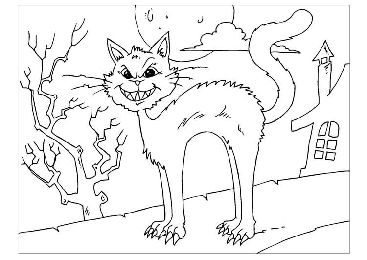 Malvorlage gruselige Katze | Ausmalbild 22646.