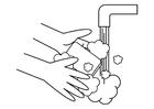 Malvorlage  Hände waschen