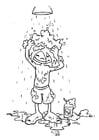 Malvorlage  Haare waschen
