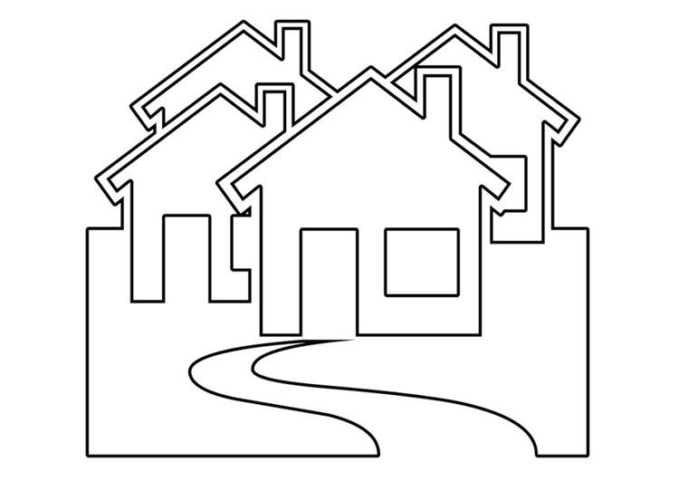Malvorlage Häuser | Ausmalbild 22534.