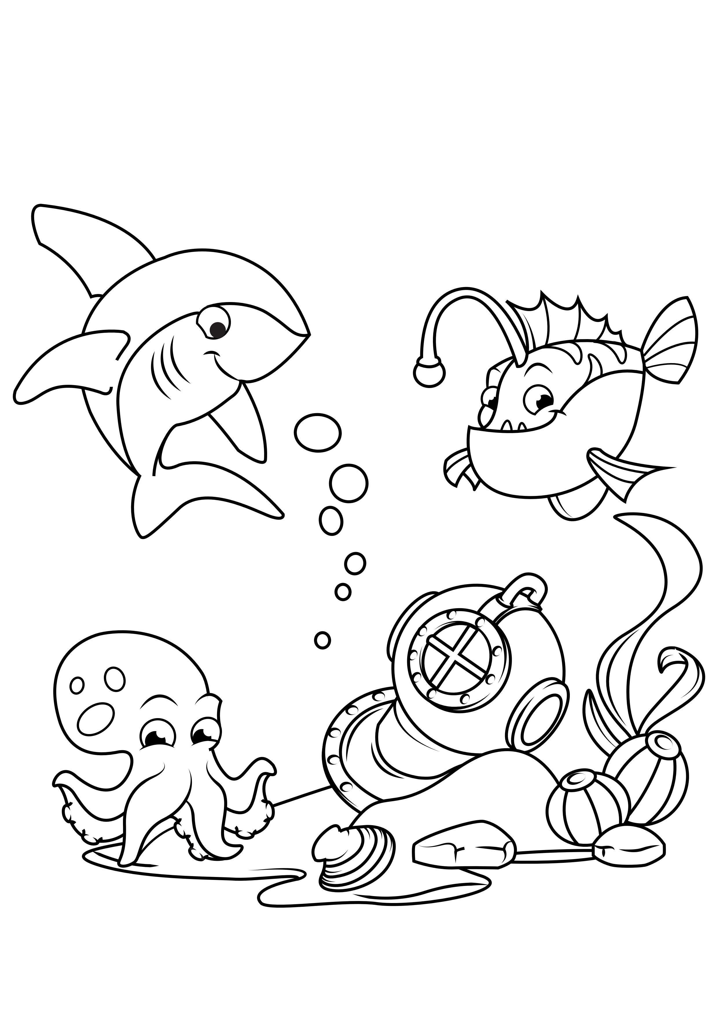 Malvorlage Hai mit Seeteufel und Tintenfisch im Meer - Kostenlose