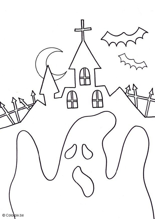 Malvorlage Halloween Geist Ausmalbild 16557