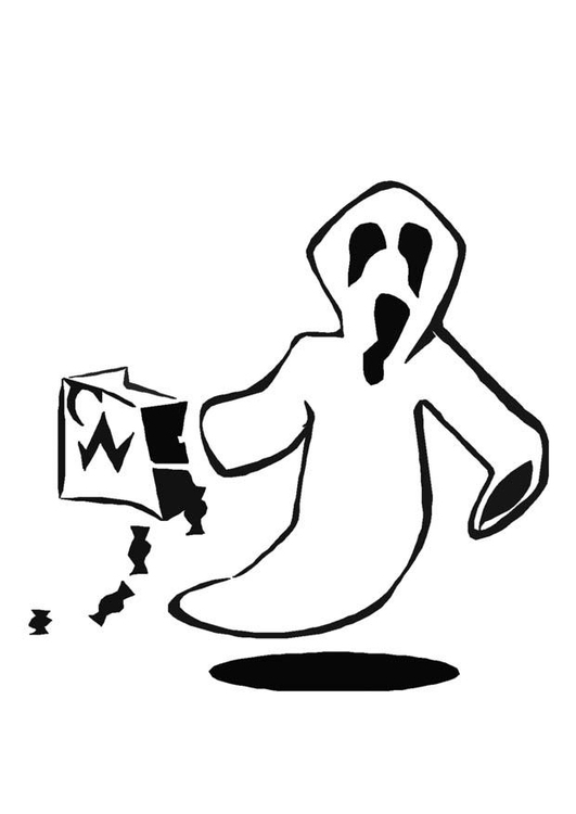 Malvorlage Halloween Geist | Ausmalbild 8596.