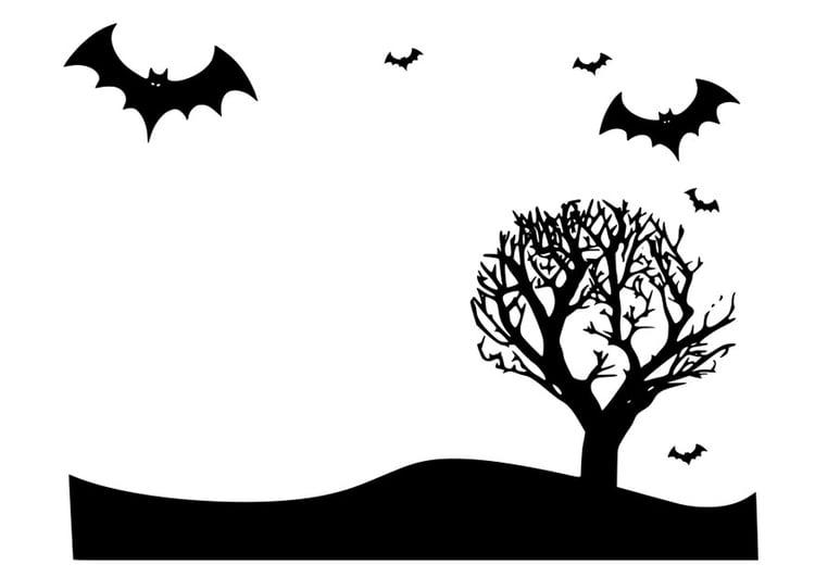malvorlage halloween landschaft  kostenlose ausmalbilder