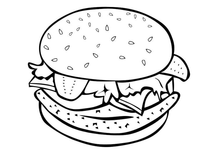 Malvorlage Hamburger | Ausmalbild 10108.