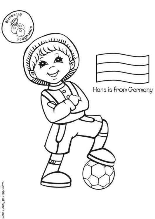 child around the world coloring pages | Malvorlage Hans aus Deutschland | Ausmalbild 5624.