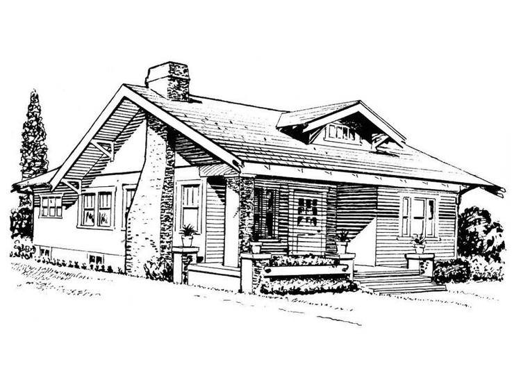 malvorlage haus  bungalow  kostenlose ausmalbilder zum