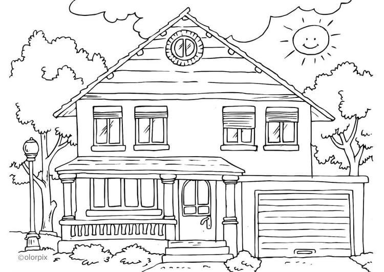 Malvorlage Haus von aussen | Ausmalbild 25996.