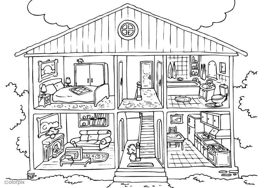 malvorlage haus von innen ausmalbild 25995. Black Bedroom Furniture Sets. Home Design Ideas