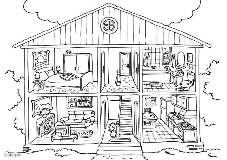 Malvorlage Haus von innen | Ausmalbild 25995.