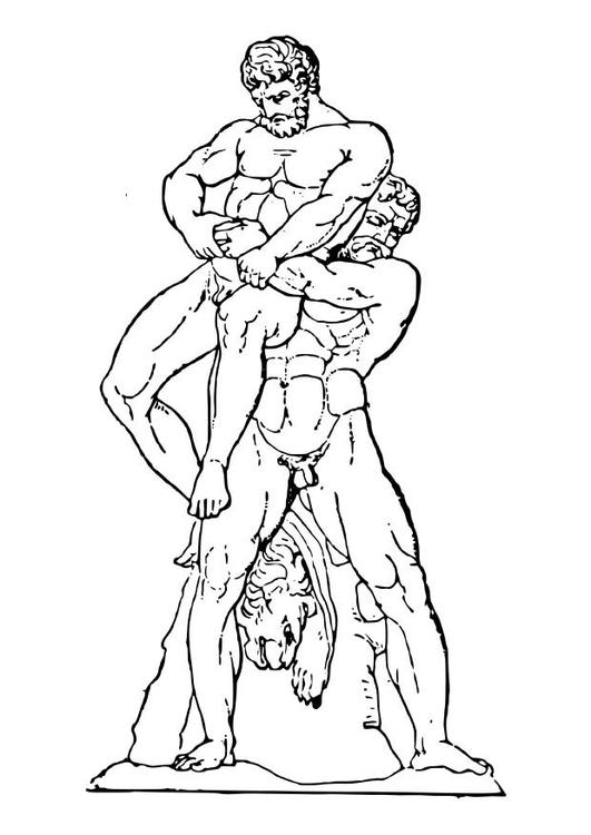Malvorlage Heracles und Antaios | Ausmalbild 18629.