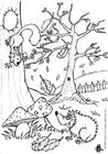 Malvorlage  Herbst - Igel und Eichhörnchen