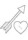 Malvorlage  Herz mit Pfeil - Cupido