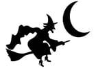Malvorlage  Hexe auf dem Besen