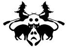 Malvorlage  Hexen mit schwarzen Katzen