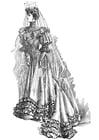Malvorlage  Hochzeitskleid 1906