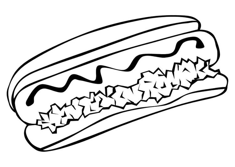 Malvorlage Hot Dog | Ausmalbild 10234.