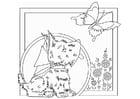 Malvorlage  Hund mit Schmetterling