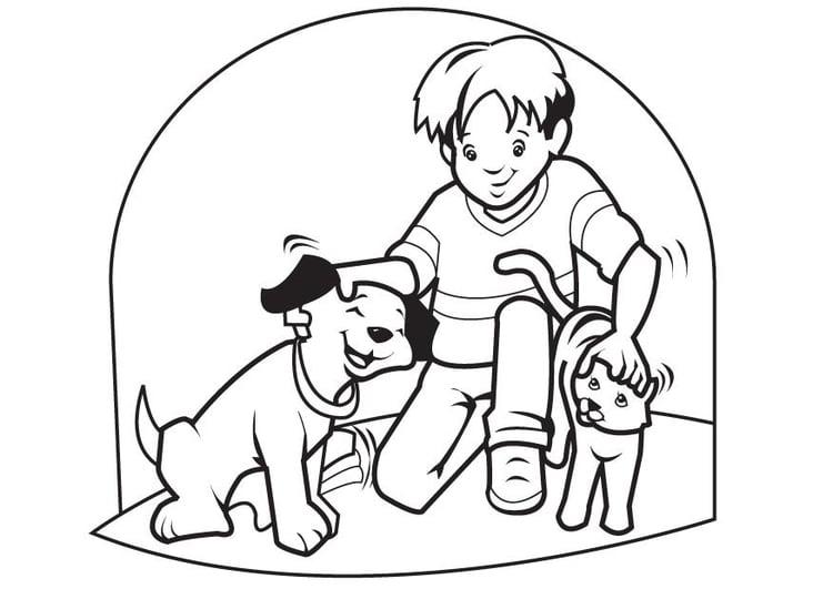 Malvorlage Hund und Katze | Ausmalbild 17452.