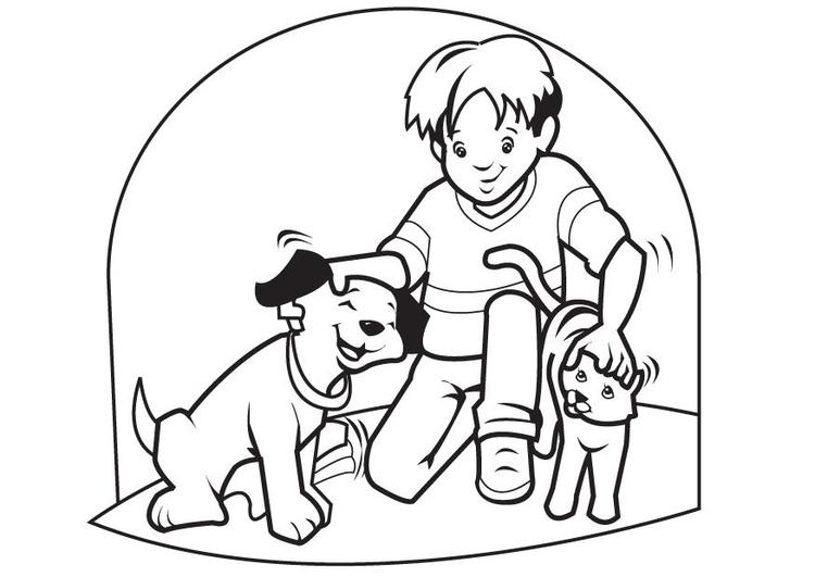 Malvorlage Hund und Katze | Ausmalbild 7096.