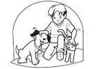 Malvorlage  Hund und Katze