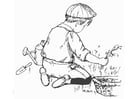 Malvorlage  im Garten arbeiten
