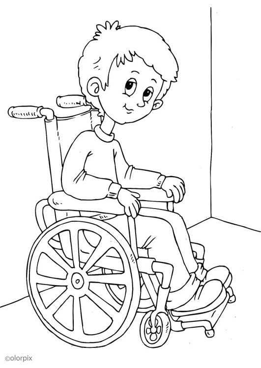 Malvorlage im Rollstuhl  Ausmalbild 25947