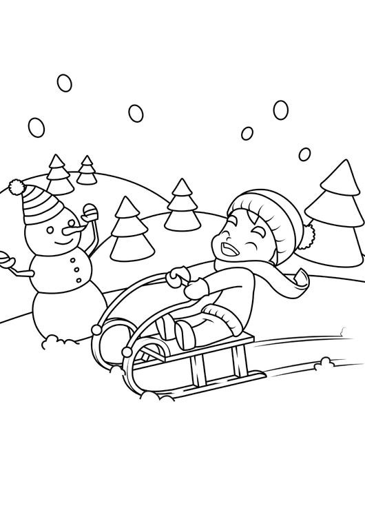 malvorlage im schnee spielen  kostenlose ausmalbilder zum