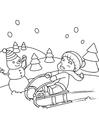 Malvorlage  im Schnee spielen