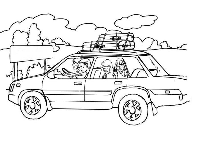 Kleurplaat Caravan Met Auto Malvorlage In Ferien Mit Dem Auto