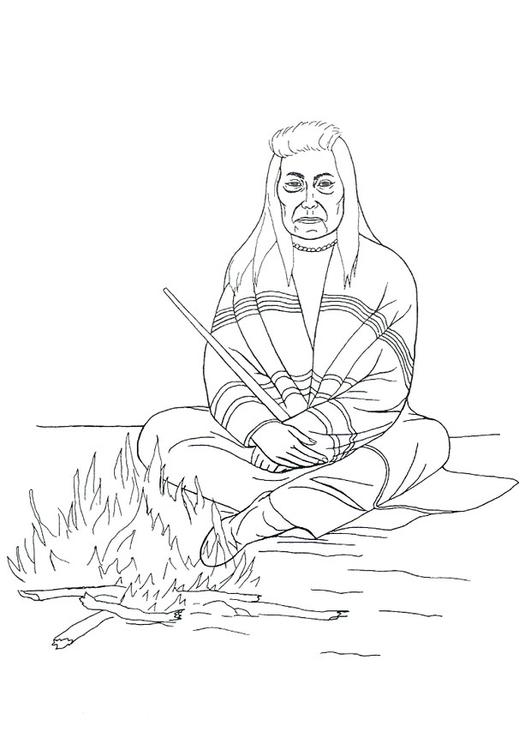 ausmalbild indianer am lagerfeuer  malvorlagen
