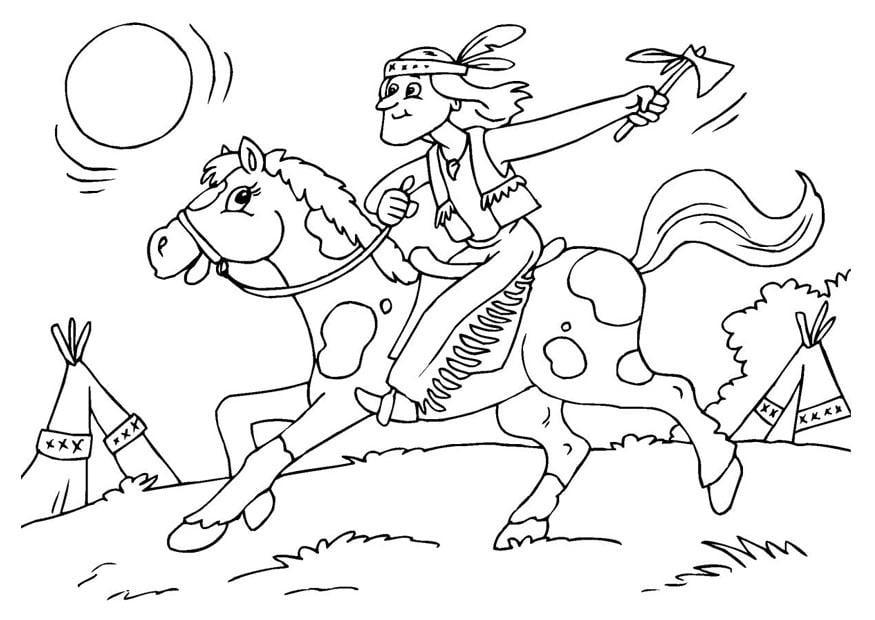 Malvorlage Indianer auf dem Pferd  Ausmalbild 25970