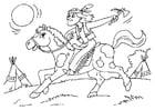 Malvorlage  Indianer auf dem Pferd