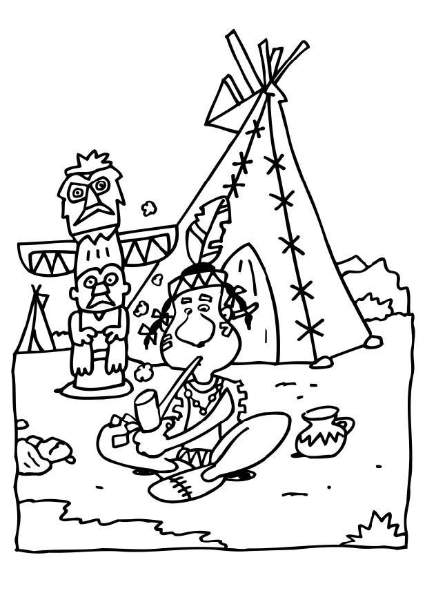malvorlage indianer  ausmalbild 6510